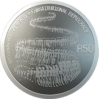 Celebrating SA R50 Silver REV 1 - SA Mint unveils new R50 and R500 coins to commemorate 25 years of democracy in SA